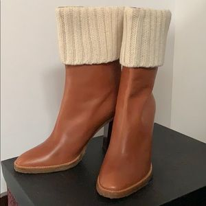 Michael Kors 9 brown stacked heel boots knit cuff